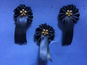 THREE BLUE ROCKING HORSE ROSETTES FOR NEW HORSE / ANTIQUE TOY RESTORATION