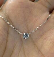 1.50Ct Round Cut Moissanite Solitaire Pendant 14K White Gold Finish With Chain