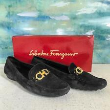 $670 SALVATORE FERRAGAMO Black Suede Loafers Size 10 Flats Shoes Womens in Box