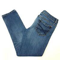 Womens Aeropostale Jeans size 7/8 Short Bayla Skinny Mid-Rise Medium Wash w Fade