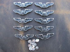 Vintage Pilot Shield Wings Insignia Screw Back Concho 10 Pack New Old Stock