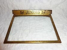 "Antique/Vintage ""Juniors 5 cent"" Store Advertising Cigar Box Top Glass Cover"