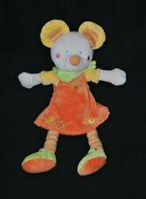 Peluche doudou souris MOTS D'ENFANTS robe orange poussin bandana vert 32 cm TTBE