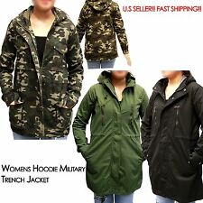 Womens Hoodie Drawstring Army Green Military Trench Parka Jacket Coat US SELLER