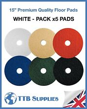 "5x Floor Polisher Cleaning Scrubber Machine Buffing Polishing 15"" Pads (WHITE)"