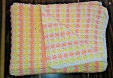 """Crochet Baby Blanket Yellow Peach And White With White Trim Size 48"""" X 62"""""""