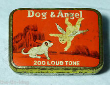 SPLENDID ANTIQUE VERY RARE DOG&ANGEL 200 LOUDTONE GRAMOPHONE NEEDLES TIN 1920