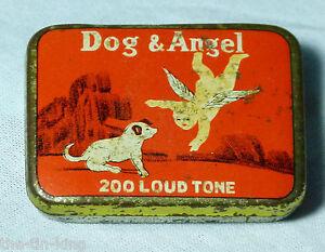 ANTIQUE VERY RARE DOG & ANGEL 200 LOUDTONE GRAMOPHONE NEEDLES TIN 1920