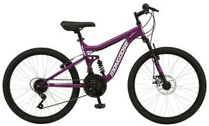 "Girl's 24"" Major Mountain Pro Bike w/ Dual Suspension, 21-Speed Bicycle, Purple"
