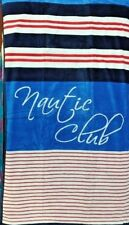 NAUTIC CLUB BLUE WHITE RED JUMBO BEACH TOWEL 100% EGYPTIAN COTTON 90cm x 170cm
