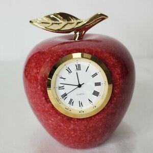Marble Red Apple Sculpture Quartz Clock Brass Accents Teacher Gift Desk New