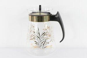 Vtg Pyrex Mid Century Modern MCM 1.5 qt Floral Sunburst Gold Foil Glass Pitcher