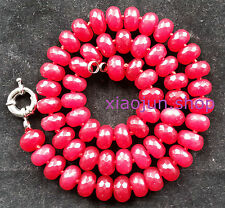 Natural 6x10MM Faceted Ruby Abacus Beads Gemstones Necklace 18""
