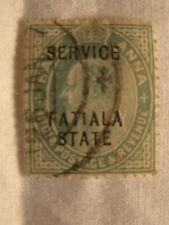 India Patiala Stamp 1907 Scott O27 A44  Half Anna