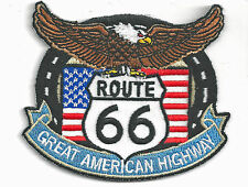 ROUTE 66 EAGLE/FLAG - IRON ON PATCH