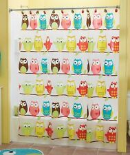 Perched Owl Bathroom Shower Curtain Colorful Birds Kids Bathroom Decor