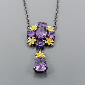 "Handmade Amethyst Necklace 925 Sterling Silver  Length 18.5""/N06524"