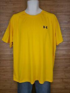 Under Armour Heatgear Loose Fit Yellow T-Shirt Mens Size XL