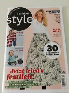 Nähzeitschrift Fashion Style Schnittmuster Damen Mode Selbernähen 12/20