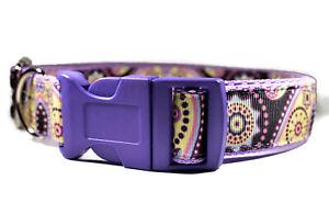 Purple Yellow Paisley Adjustable Handmade Dog Collar For Girl Dog Medium Large