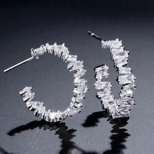 Crystal Baguette Cut Hoop Pierced Earrings - New In Gift Box