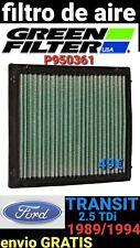 FORD TRANSIT 2.5 TDi 1989/1994 FILTRO DE AIRE GREEN P950361