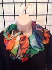 Designer Ruffled Collar NWT $75, Drapey Chiffon Kerry Damiano, Snap Vivid Pastel