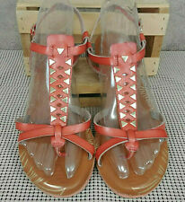 585ca51ab7f03 New ListingYellow Box Strappy Sandals Flats Shoes Women s Sz 10 Red Brown  VGUC