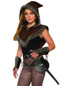 Unisex Viking Valkyrie Faux Fur Hooded Capelet Cape Halloween Costume Accessory