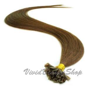 200 Pre Bond Glue U Nail Tip Straight Remy Human Hair Extension Medium Brown #4