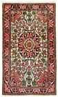 3.5 x 5.6 Hand Knotted Sarouk Ivory Navy Tribal Wool Oriental Area Rug