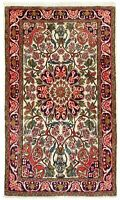 """3'5"""" x 5'6"""" Hand Knotted Sarouk Ivory Navy Tribal Wool Curvilineal Oriental Rug"""