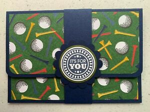 Handmade gift card holder. Father's Day/'For you'/birthday options. Golf theme.