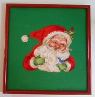 Vintage Framed Hand Stitched Needlepoint Petit Embroidery Christmas JOLLY SANTA