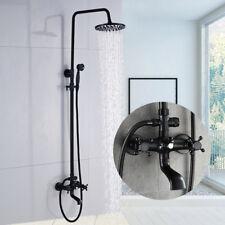 Oil Rubbed Bronze Shower Faucet Mixer Tap 2 Handles Tub Spout Hand Shower Spray