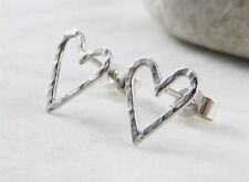 Sterling Silver Sparkly Hammered Open Heart Ear Stud Earrings 11mm - Handmade UK