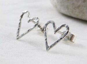 Sterling Silver 925 Sparkly Hammered Heart Ear Stud Earrings 11mm - Handmade UK