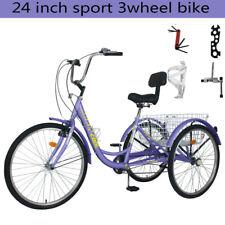 Adult Tricycle Sport Trike 24'' 7Speed Bike w/Foldable Basket For women/men Gift