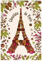Torchons & Bouchons EIFFEL TOWER PARIS Heart French CHOCOLATE Tea Kitchen Towel