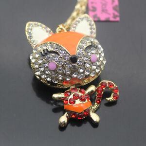 W00218  Betsey Johnson Crystal Enamel Lovely fox  Pendant  Necklaces