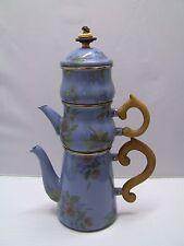 Mackenzie Childs Enamel Cornflower Blue Stacking Coffee Pot, Tea Pot, Sugar Bowl