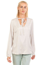 RRP €115 ZANETTI 1965 Satin Top Blouse Size 48 Pleated Long Sleeve Pussy Bow
