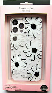 kate spade Protective Clear Case iPhone 12 PRO MAX Daisy Black White Gems  New