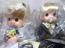 "Precious Moments Set Bride Groom Jonny & Jessi Wedding Marriage 15"" Vinyl Doll"