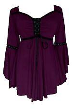 Dare to Wear OPHELIA Gothic Renaissance Corset Top Plum PURPLE Jr L Large