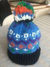 penfield bobble hat beanie blue black multicoloured fantastic condition