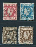 ROMANIA 1872, Mi. 32-34 used, four stamps incl. Colour variants!! Mi. 250,--!!