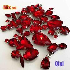 50pcs/bag mixed shape red glass faltback sew on claw rhinestones,diy clothing ac