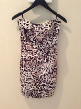 New Satin Bebe Dress Sexy Animal Leopard Print, Curve-flowing fit. Size XS