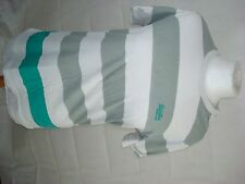 superdry mans size small grey,white and green hooped t shirt